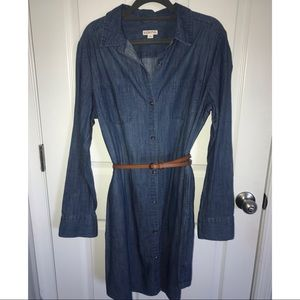 Chambray dress long sleeve w/ cognac belt